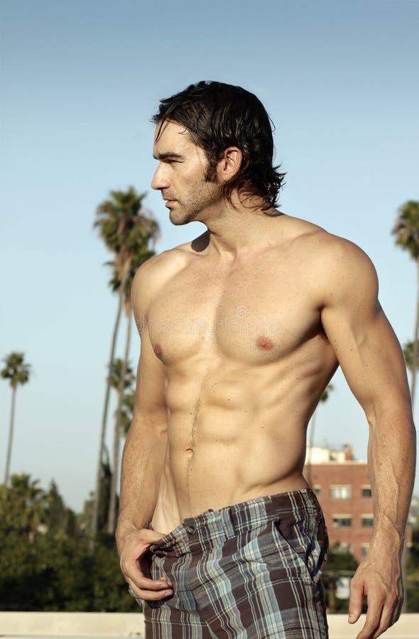 Shirtless mensenprofiel stock foto