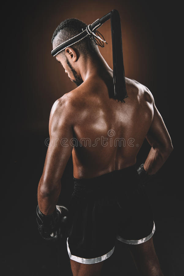 Free Shirtless Muay Thai Athlete Standing In Studio, Action Sport Concept Royalty Free Stock Image - 93854906