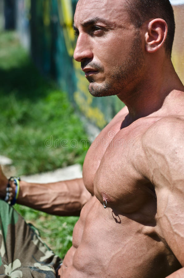Shirtless sammanträde för stilig muskulös kroppsbyggare på gräset royaltyfria bilder
