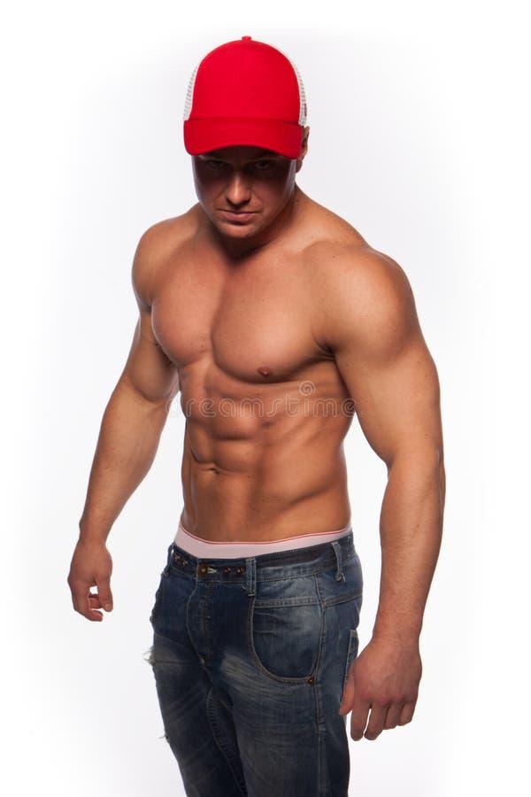 Shirtless sexig muskulös man royaltyfri bild