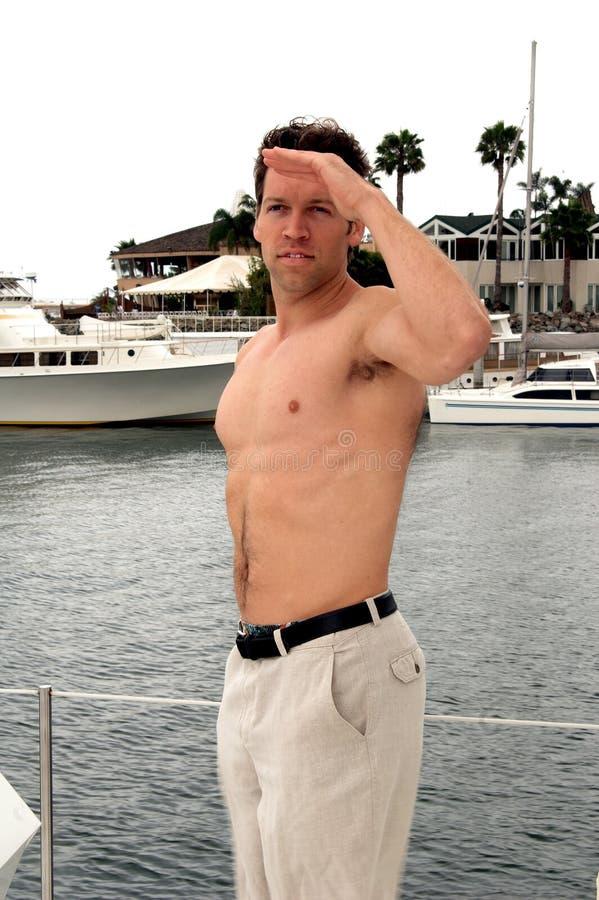 shirtless sjöman arkivfoto