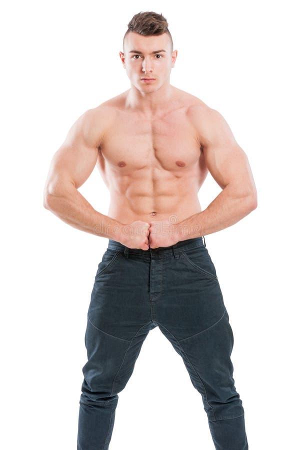Shirtless ung och stilig manlig modell arkivbild