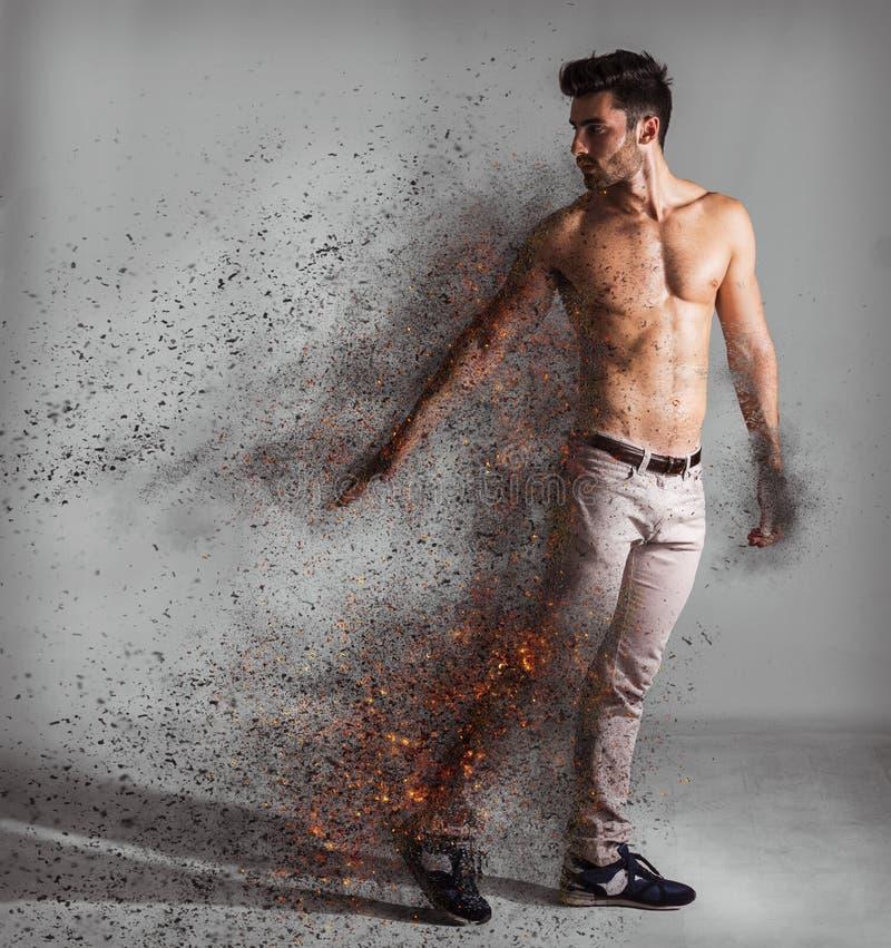 Shirtless ung stilig man i praktiken av diffusion vektor illustrationer
