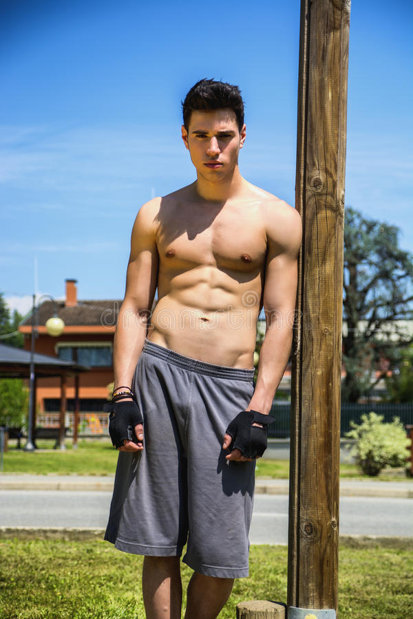 Free Shirtless Young Man Resting After Workout Outdoor Stock Images - 54110914