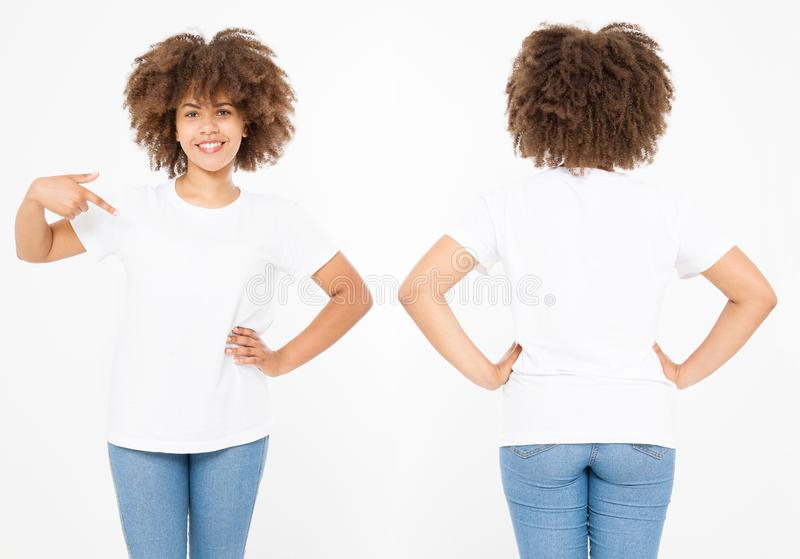Shirts set. Summer t shirt design and close up of young afro american woman in blank template white t-shirt. Mock up. Copy space. stock photos