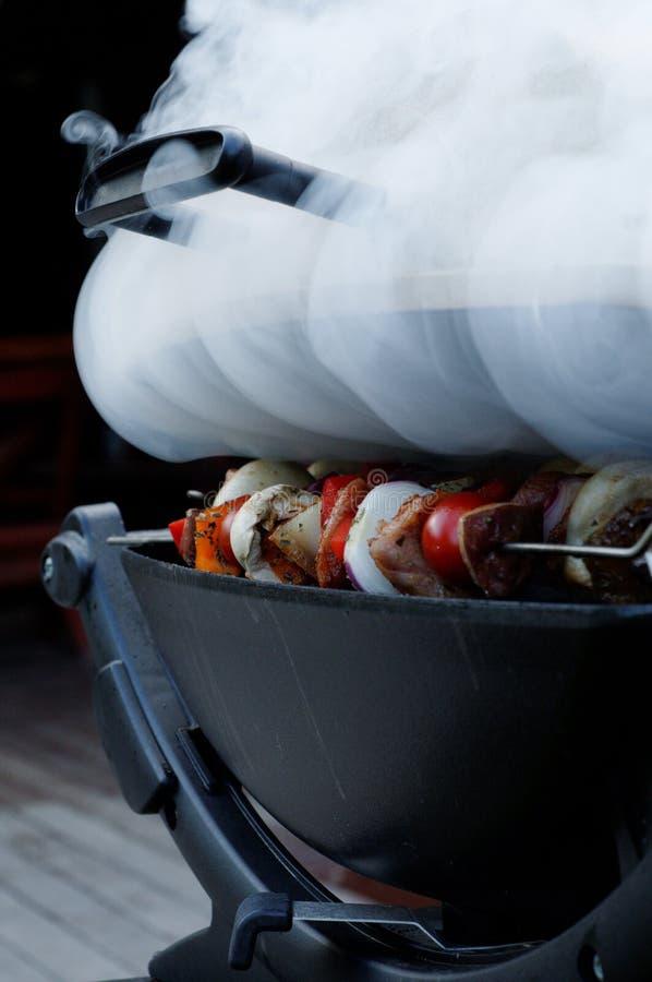 Shish Kabobs on Smoking Grill stock photos
