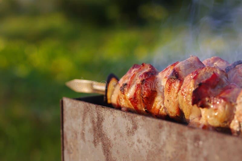 Shish kebab σε ένα οβελίδιο στοκ φωτογραφία με δικαίωμα ελεύθερης χρήσης