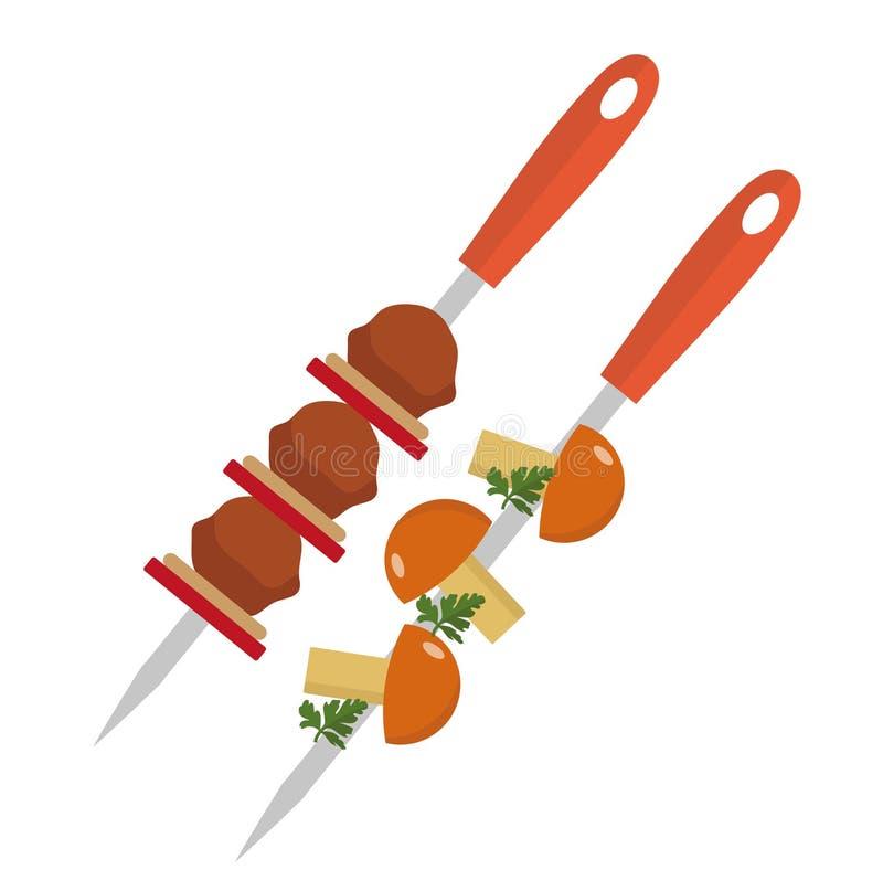 Shish kebab στα οβελίδια με το χοιρινό κρέας και το εικονίδιο μανιταριών, επίπεδο ύφος η ανασκόπηση απομόνωσε το λευκό επίσης cor απεικόνιση αποθεμάτων