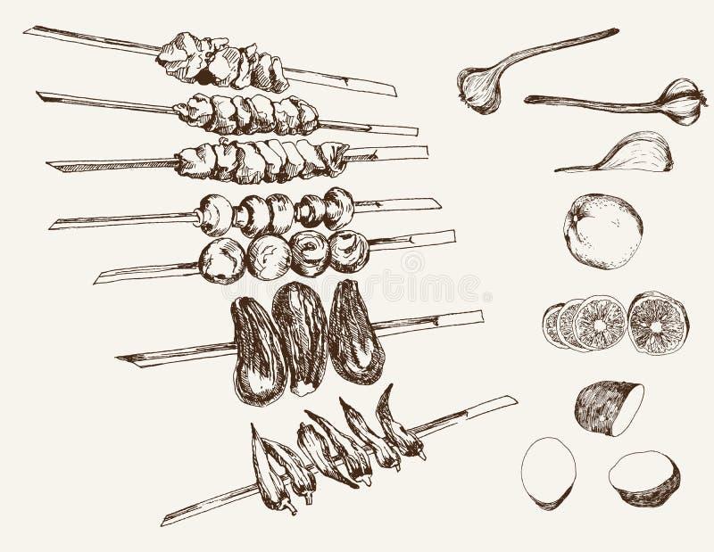 Shish kebab στα οβελίδια διανυσματική απεικόνιση