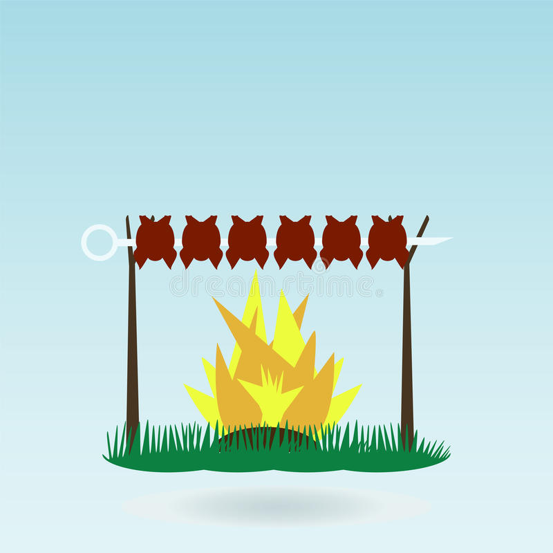 Shish kebab στα οβελίδια ελεύθερη απεικόνιση δικαιώματος