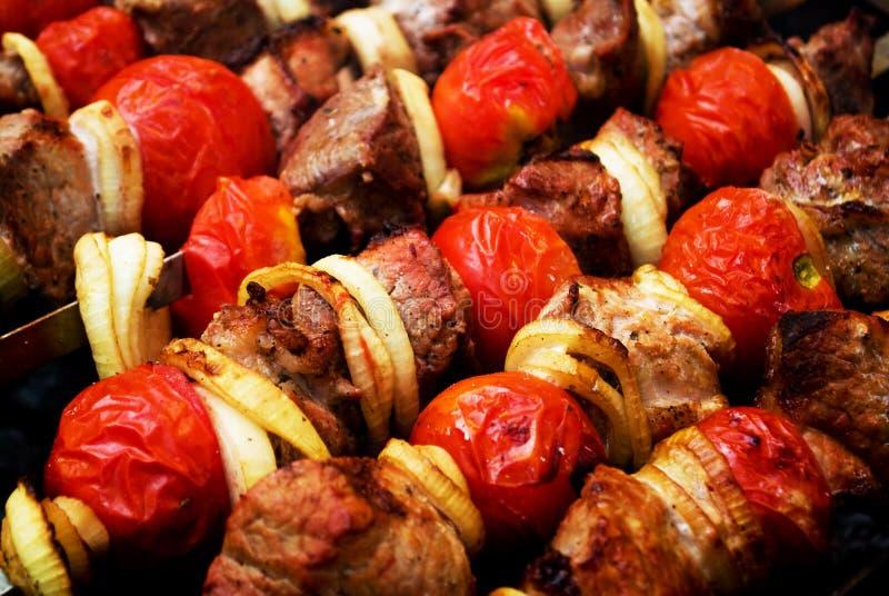 Download Shish kebab - barbecue stock photo. Image of skewers - 15397120
