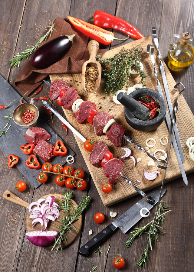 Shish kebab from beef sirloin stock image