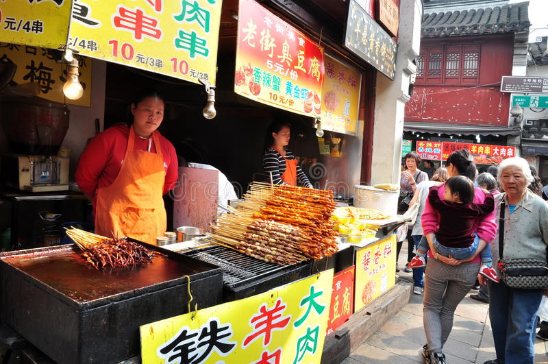 Shish kebab in China ancient shopping street stock photo