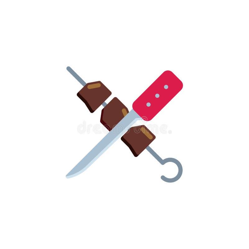 Shish kebab i noża mieszkania ikona royalty ilustracja