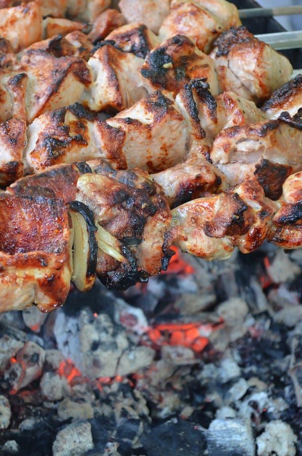 Shish kebab, meat, pork, beef. stock images