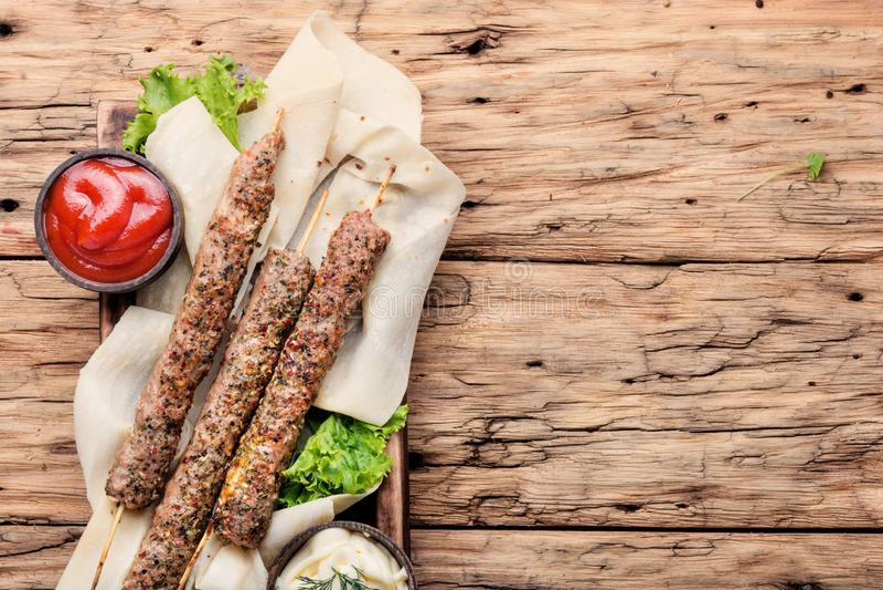 Shish kebab na kiju fotografia stock