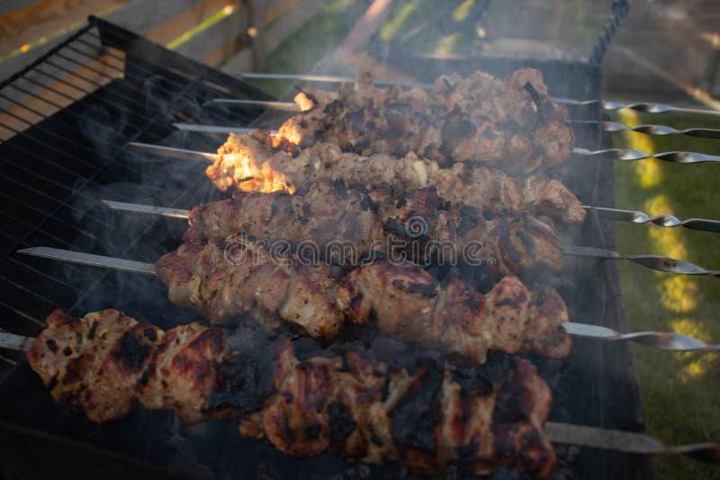 Shish kebab na skewer obraz royalty free