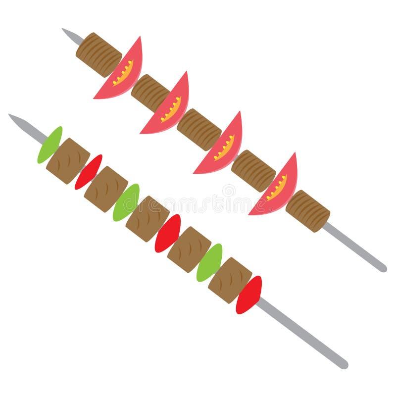 Shish kebab na skewers royalty ilustracja