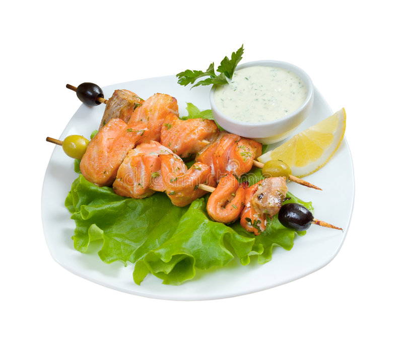 Download Shish Kebab From  Salmon  With Stock Image - Image of kebab, lunch: 8673507