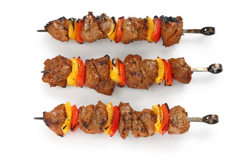 Shish kebab on skewers stock photography