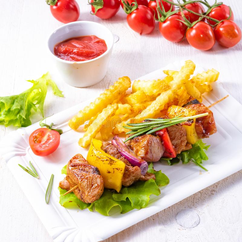 shish kebab skewers with marinated ham meat paprika and red onion stock photography