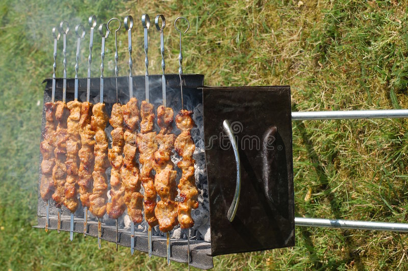 Shish Kebabs on the Grill stock photography