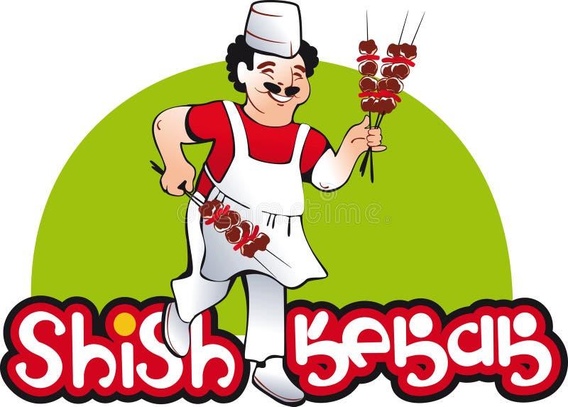 Shish kebabu kucharz, wschodni kuchenny charakter ilustracji