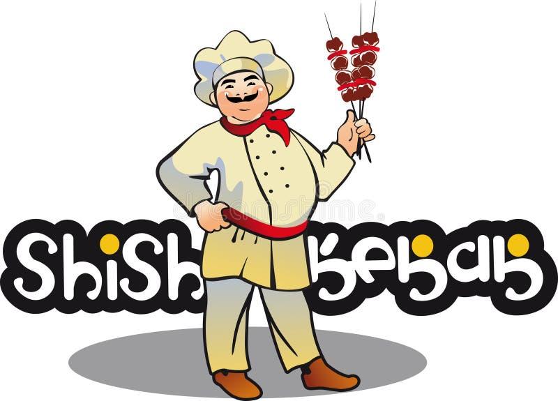 Shish kebabu kucharz, wschodni kuchenny charakter ilustracja wektor
