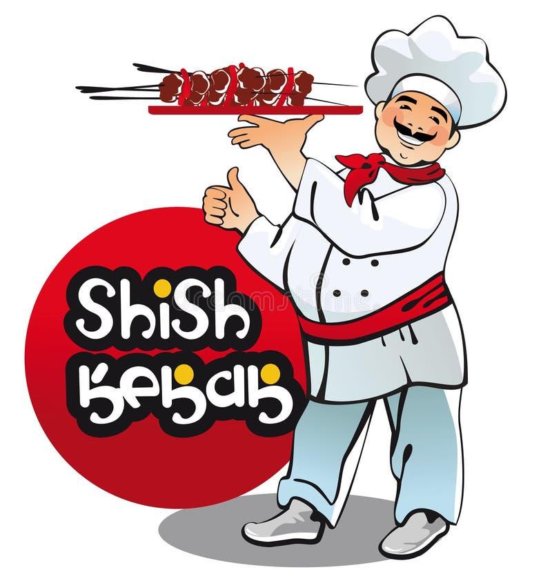 Shish kebabu kucharz, wschodni kuchenny charakter royalty ilustracja