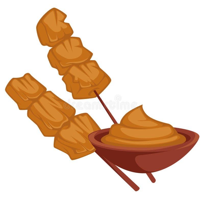 Shish kebabu kurczaka mięso na drewnianym kiju z kumberlandem ilustracja wektor