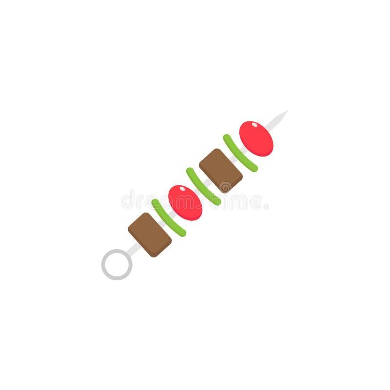 Shish kebabu płaska ikona, karmowi napojów elementy ilustracja wektor