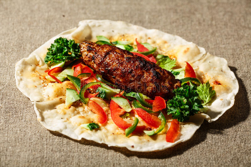 Shish kofte kebab στοκ εικόνα