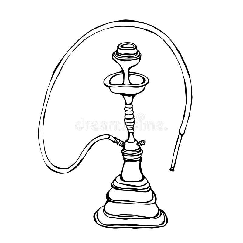 Shisha, Bong, Hooka, cachimbo de água com tubulação de fumo, a barra oriental do cachimbo de água ou a sala de estar Ilustração d ilustração do vetor