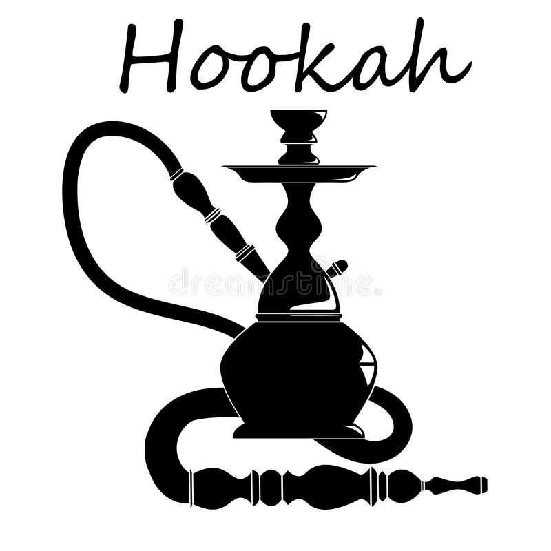 Shisha, hookah black silhouette. stock illustration