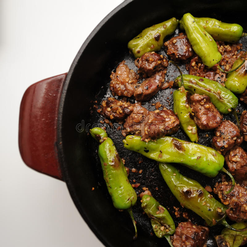 Shisito Peppers. And filet mignon stock photo