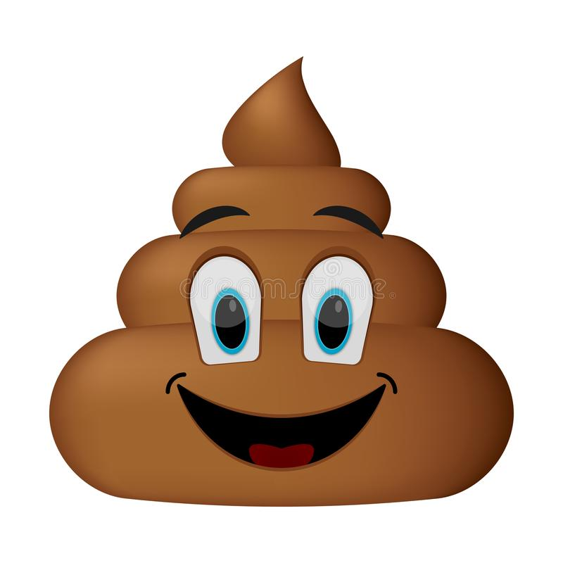 Shit icon, smiling face, poop emoticon stock illustration