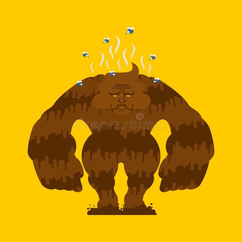 Shit monster. Turd freak. Poop golliwog. demon Vector illustration stock illustration