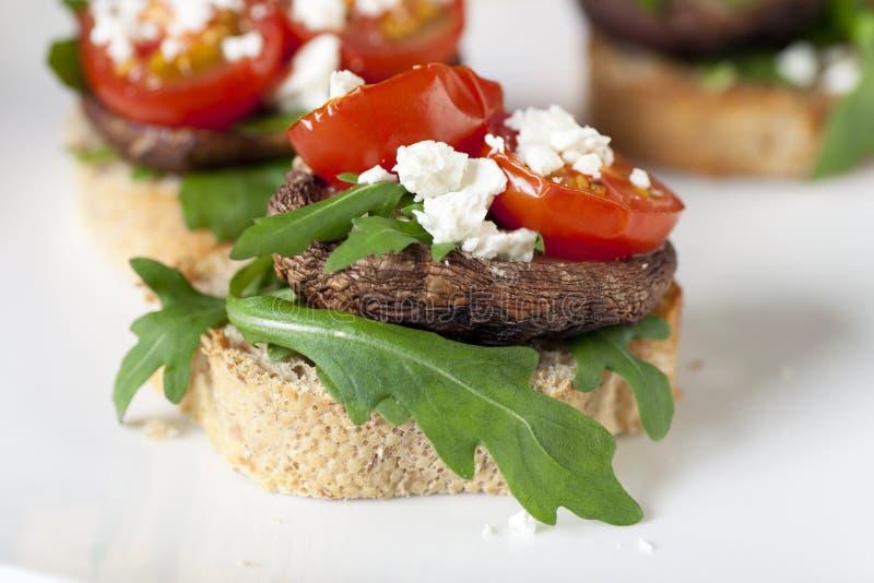 Shitake Mushroom Tapas on Toast. royalty free stock photography