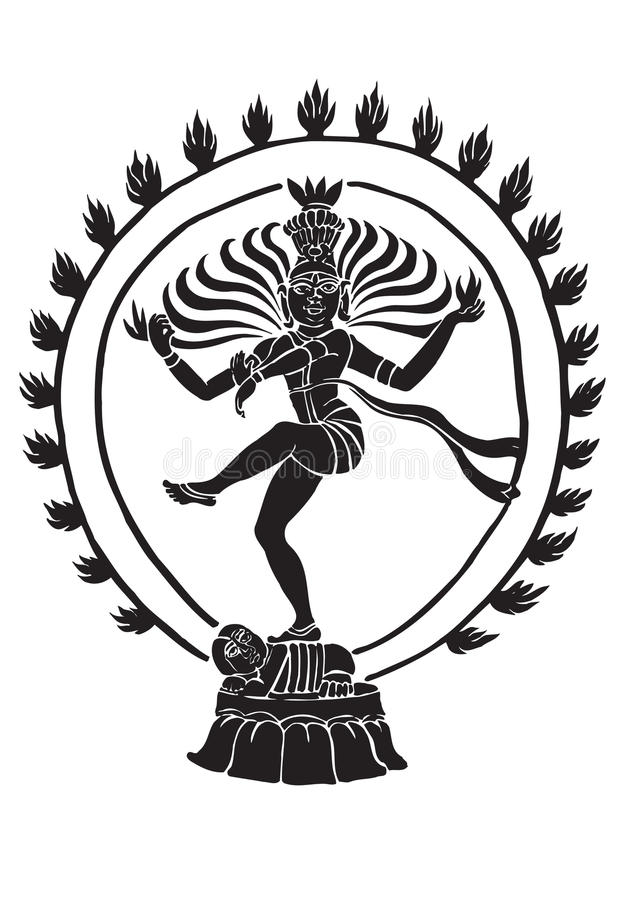 shiva танцы иллюстрация вектора