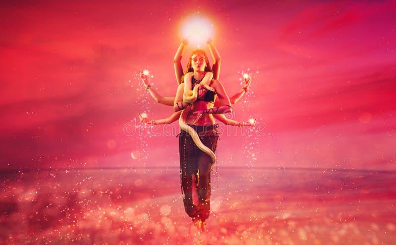 Shiva met acht handen stock afbeelding
