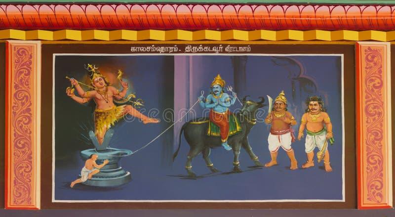 Shiva salvar a vida de Markandeya e mata Yama imagens de stock royalty free
