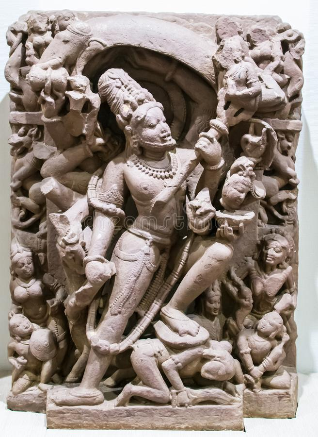 Shiva Sculpture Gajasur Killing India royalty-vrije stock afbeeldingen