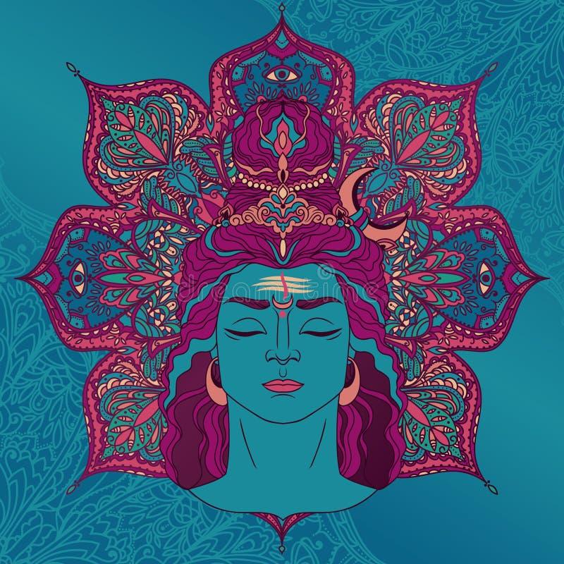 Shiva stående på magisk mandala vektor illustrationer