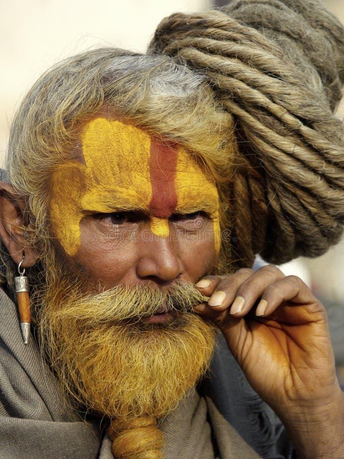 shivaratri för sadhu för dreadlockfestivalhår arkivbild