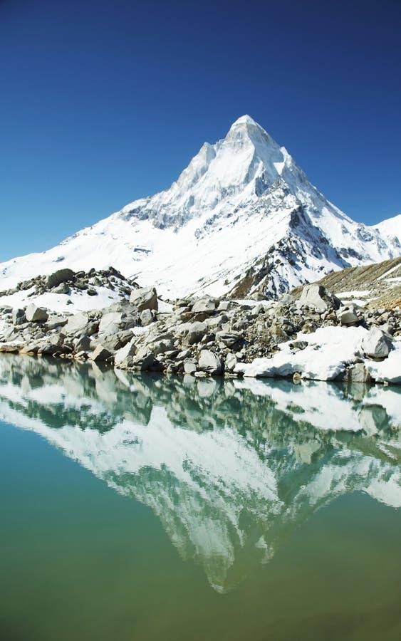 Shivling peak in Himalayan royalty free stock photo