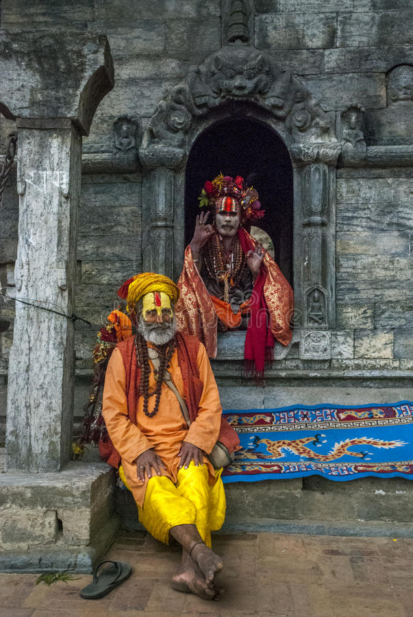 Shivratri Festival and baba`s at the Pashupatinath temple royalty free stock images