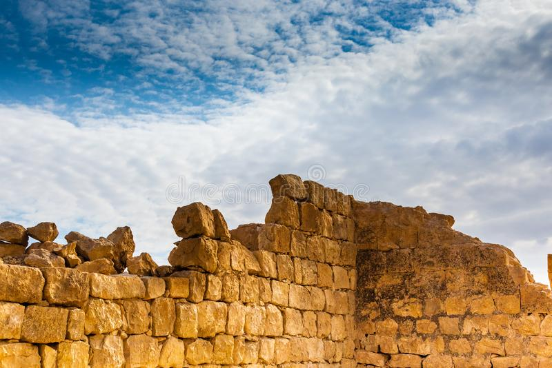 Ruins of Ancient Shivta in the Negev Desert. SHIVTA, ISRAEL / FEB 18, 2018:  This ancient Christian Nabatean city in Israel`s Negev desert was abandoned some 200 royalty free stock photos