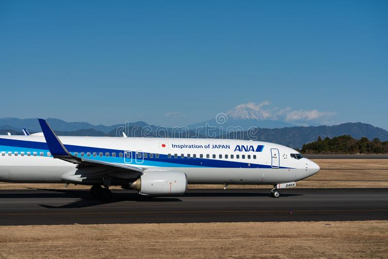 ANA Boeing 737-800 taxing royalty free stock image