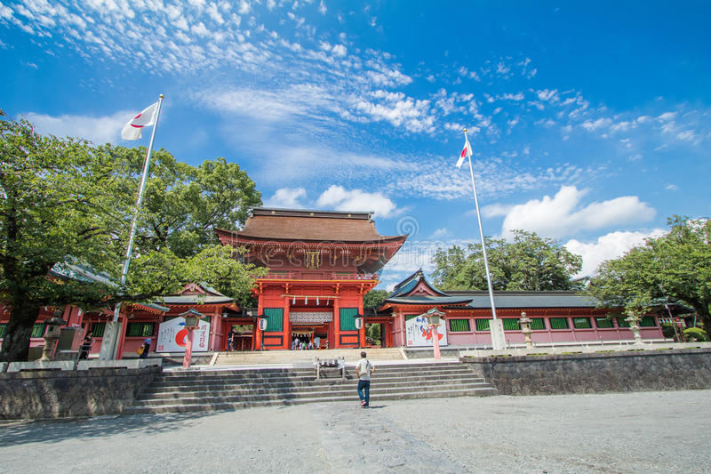 Shizuoka Prefecture ,Japan - August 19, 2017:Fujisan Sengen Shrine was one of the largest and grandest shrines in the city of F. Ujinomiya royalty free stock photo