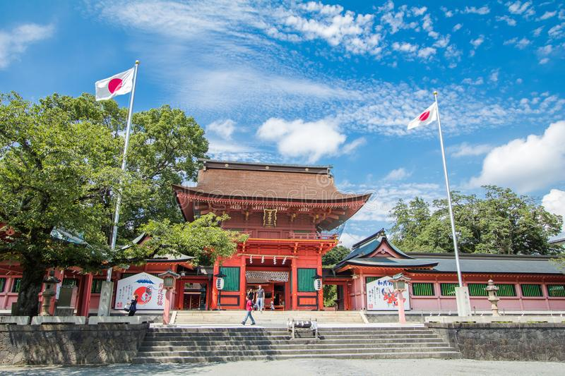 Shizuoka Prefecture ,Japan - August 19, 2017:Fujisan Sengen Shrine was one of the largest and grandest shrines in the city of F. Ujinomiya royalty free stock photography